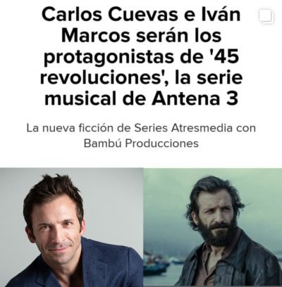 """Imagen de Iván Marcos protagonizará """"45 Revoluciones"""""""